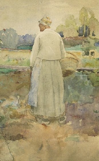 """Peasant Woman on the Land"" by Karin Larsson-Bergöö, Swedish artist & wife of well-known artist Carl Larsson, 1859-1928"