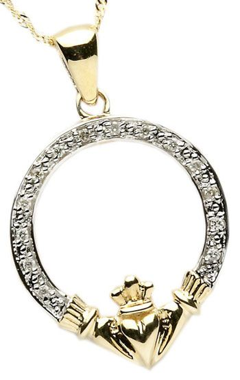 14k Gold Diamond Set Claddagh Pendant at Claddaghrings.com #valentinesdaygifts #claddagh $295.00