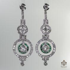 Antique Art Deco Platinum 4.3CTW. Diamond & Emerald Earrings (hva)