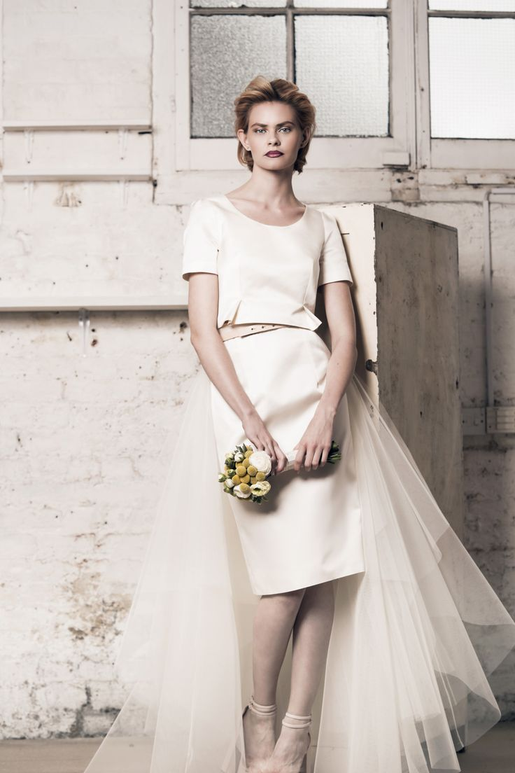 Modern wedding dress for the contemporary bride. Alexa top, Jessie skirt - Muscat Bridal. Silk duchess crop top. Silk duchess pencil skirt.