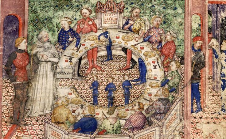 Merlin introduces Galahad to the Round Table. BnF Français 343.