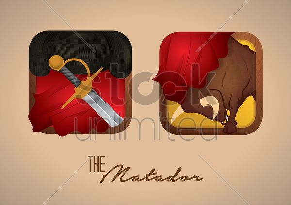 charging bull and sword Stock Vector