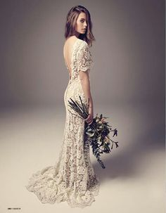 """Ivy & Aster """"Posey"""" lace wedding gown. LLike the colours - ivory lace over champagne dress"""
