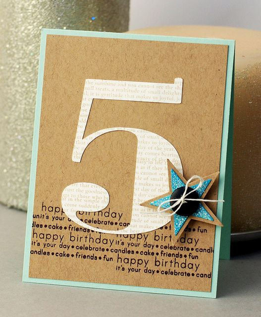 handmade birthday card ... giant 5 cut out ... glued onto kraft card with birthday thoughts stamped in black ... layered die cut star with a button and string bow finishes it off ... graphic look ... luv it!!!