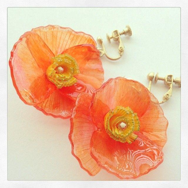 ポピーのプラバンイヤリング #poppy #earrings #shrinkplastic #shrinkydinks #プラバン #プラ板