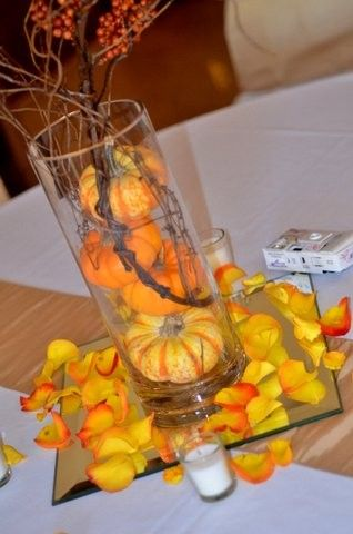 pumpkin wedding centerpieces+receptions | Pumpkin centerpieces (Copy)