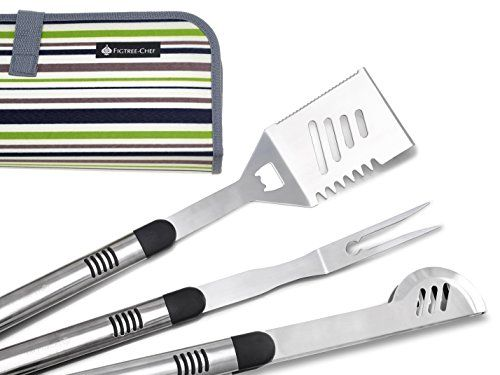 Figtree-Chef BBQ Tools Set With Case | Heavy Duty Grilling Utensils | Includes Spatula Fork And Tongs | Practical Grill Accessories For Your Weber Grill | Perfect Gift