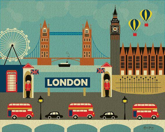 Londres Skyline - Horizontal Destination voyage Wall Art Poster Print pour maison, bureau et pépinière - style E8-O-LON