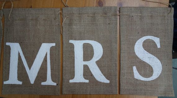 Mr & Mrs handmade wedding burlap banner by RusticWeddingGraphic