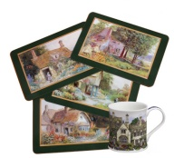 "I have this delightful set of fine, cork-backed placemats by Jason and I gave my mother a set also.  ""They bring the timeless grace of garden cottages into your home and protect your furniture from staining and scratching. Heat resistant up to 225° F. Set of four, 16¾"" x 11¼"".   The set came with a  Country Cottages mug. English fine bone china from Dunoon; 10 oz."" Actual historic cottage paintings."