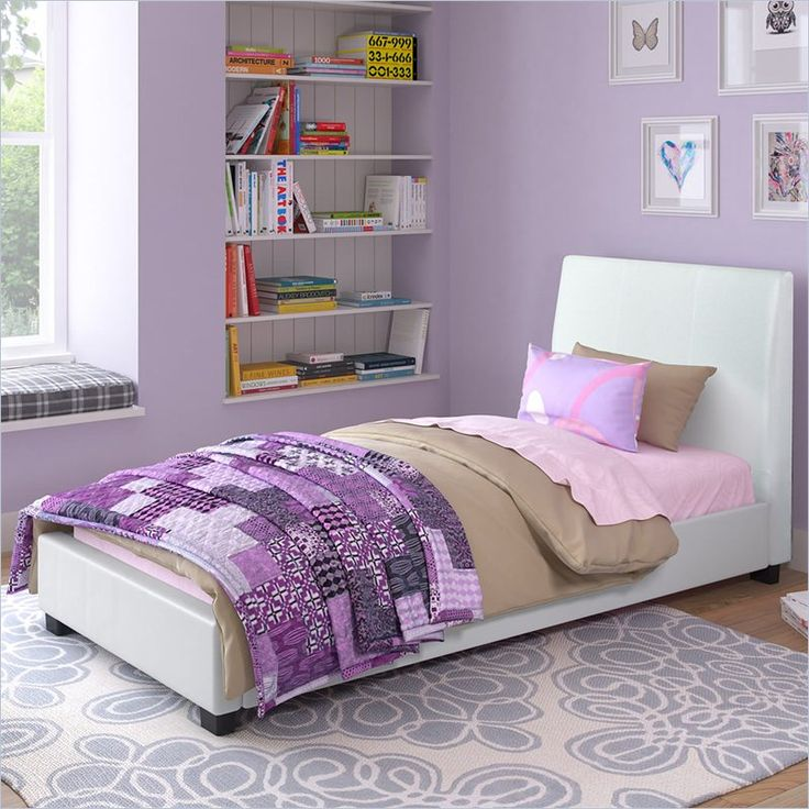 CorLiving San Diego Leatherette Upholstered Twin Bed in White   BIM 919 S. 50 best when the 2 under 2 grow up    images on Pinterest