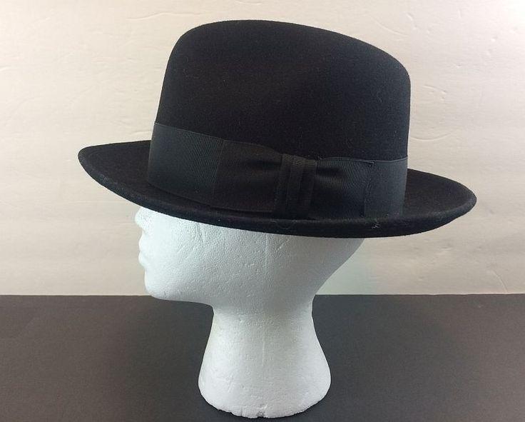 Mallory by Stetson Fedora Black Wool The Frederick Size 7 Hat Flat Ribbon Band #Stetson #Fedora #Everyday