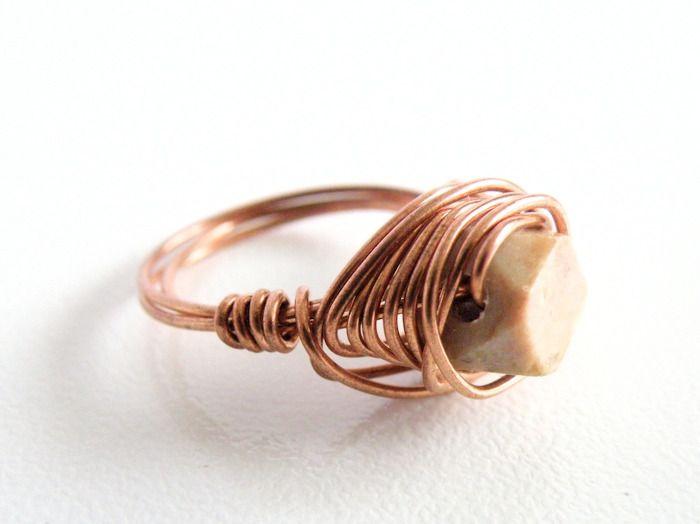 """Anello in filo di rame """"Geometric romance"""" : Anelli di ilmatar-jewelry-design"""