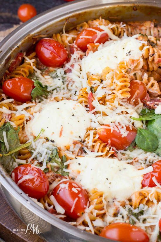 One Pan Spinach Cheese and Fire Roasted Tomato Pasta In just minutes, and with only one pot to clean, you can have a family-dinner-size pasta dish. The pasta cooks right in the right in the pan, no boil, no draining. #OnePanPronto –#ad