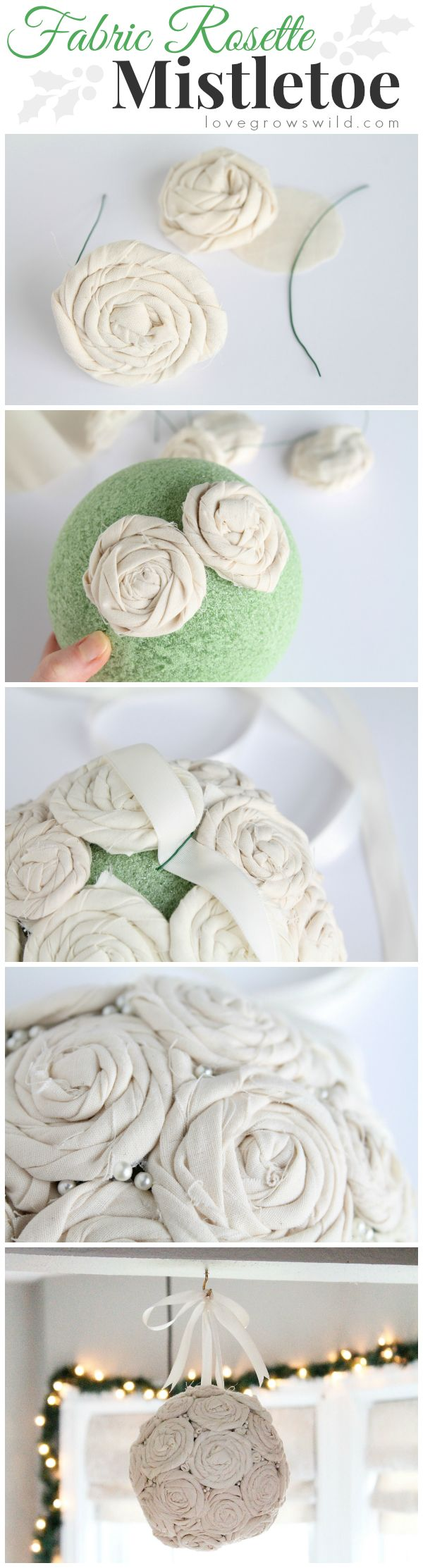 Steal some smooches underneath this beautiful DIY Fabric Rosette Mistletoe Ball!