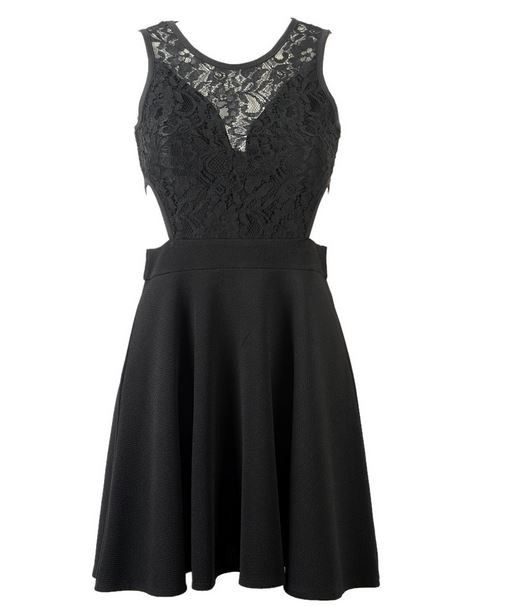 Ustrendy black lace dress