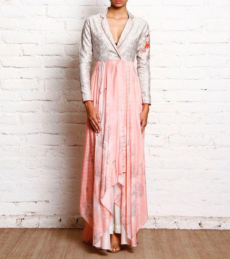 Blush Pink & Grey Cotton Silk Asymmetric Pleated Kurta