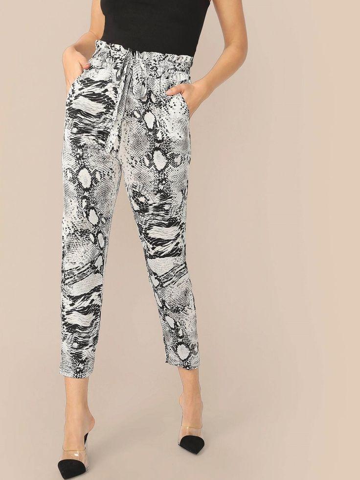 Paperbag Snakeskin Print Pants