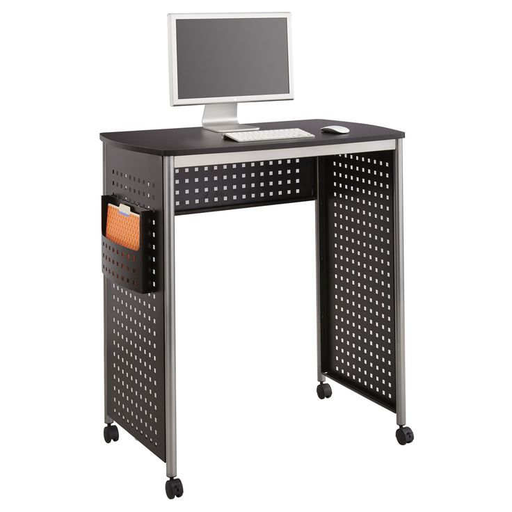 Safco Scoot Standing Computer Workstation Desk with File Pocket - 1908BL