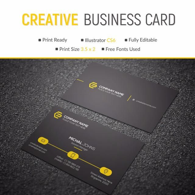 Business Card With Yellow Details Goruntuler Ile