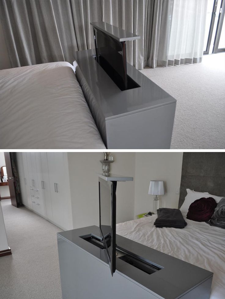 7 Ideas For Hiding A TV In A Bedroom // The TV built into the foot of this bed rises up and swivels to allow for bed viewing as well as viewing from any other angle in the bedroom.