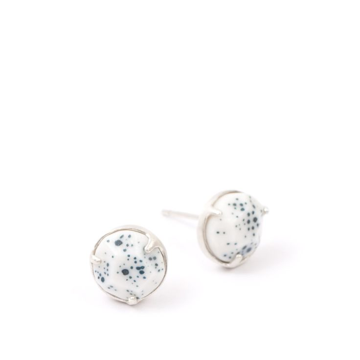 Universe Galaxy Blue earring studs, porcelain and sterling silver $145