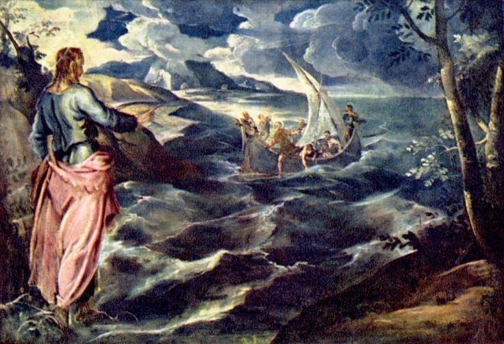 Jacopo Tintoretto.  Christus am See Tiberias. Um 1560, Öl auf Leinwand, 117 × 168,5 cm. Washington (D.C.), National Gallery of Art. Venezianische Schule. Italien. Manierismus.  KO 00912