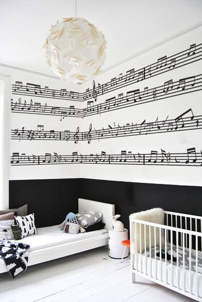 I like this wall, but not with music notes. With writing instead