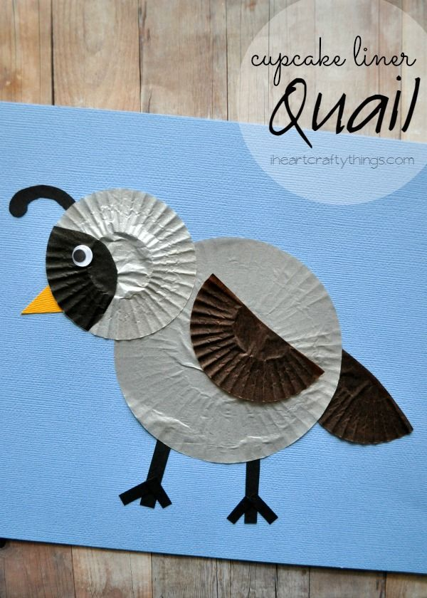 Quail Kids Craft made out of cupcake liners. Great for learning about the letter Q for preschool or learning about birds. From iheartcraftythings.com