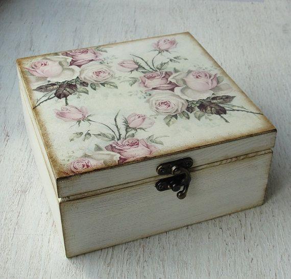 Tea storage box. Tea bag box. Tea bag storage. Decoupage. Rose. Wooden box & 25+ unique Wooden tea box ideas on Pinterest   Decoupage box Tea ... Aboutintivar.Com