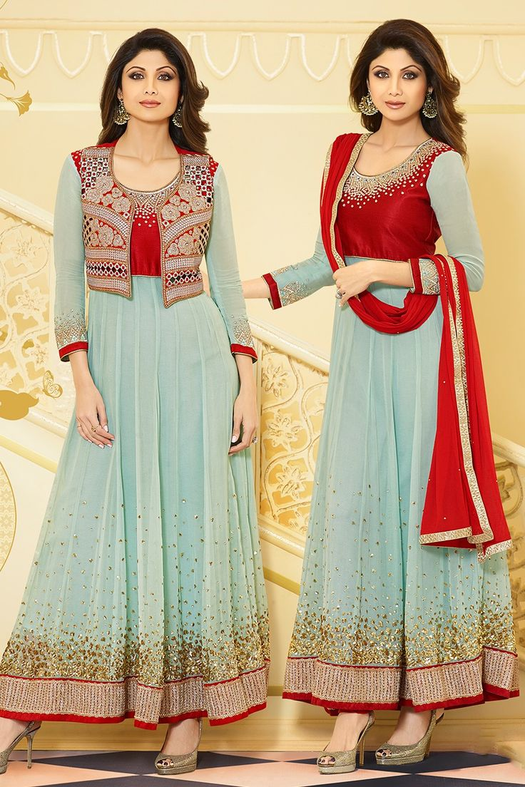 Majestic Light Sea Green And Red Anarkali Suit Dress Material- 30% #Discount #Eid #EidSpecial #Anarkali #DressMaterial