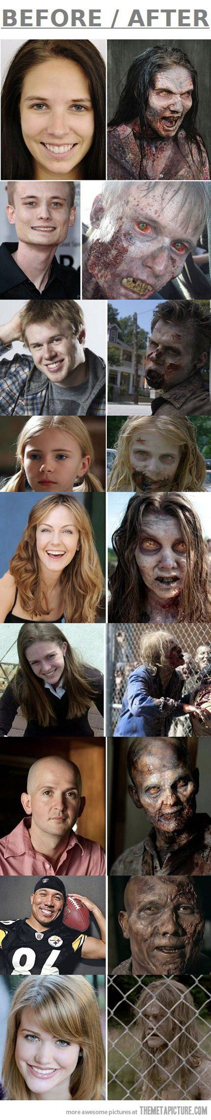 Make-up of The Walking Dead's Zombies... I don't know why, but the little girl still freaks me out the most of all the zombies ever on the show.