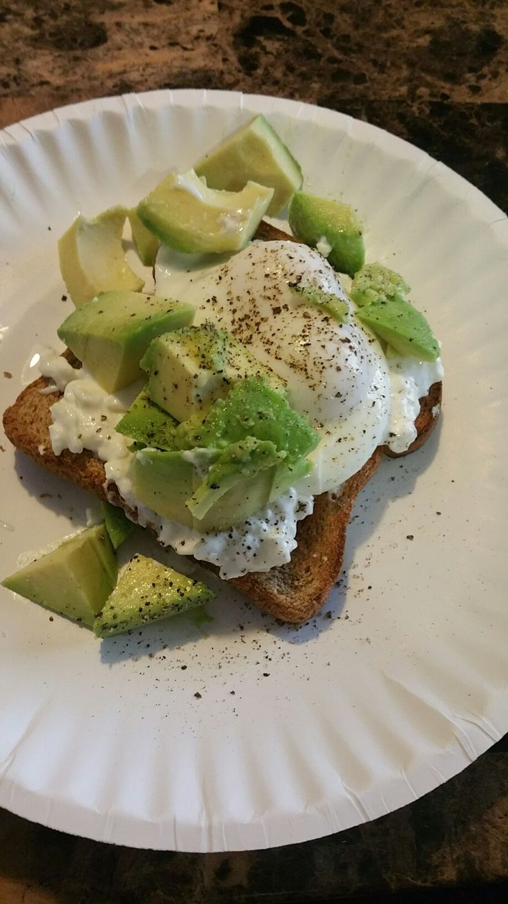 #mynewfave Whole wheat toast, cottage cheese, poached egg and avocado topped with fresh cracked sea salt and pepper! 370 calories,  18.7 g of protein, 23.1 g of fat, and 23.4 in carbs. Quick easy breakfast to start off your day the right way!