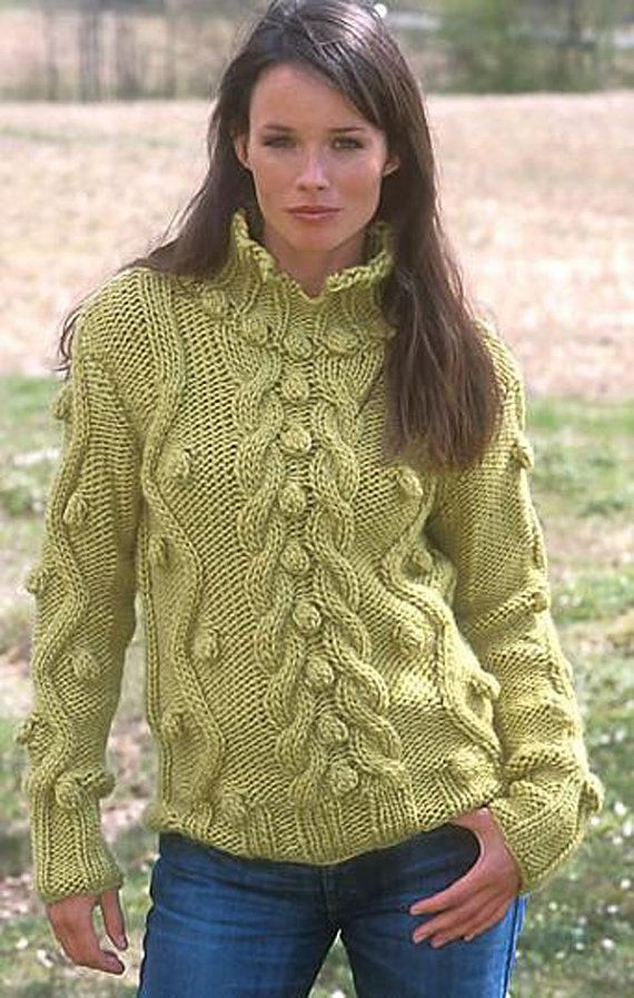 MADE TO ORDER Sweater aran women hand knitted sweater ...