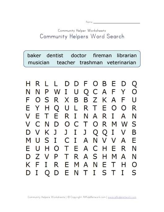 community helpers word search | Health class | Pinterest