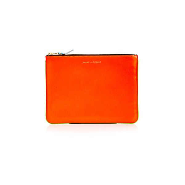 Comme des Garçons Neon Clutch ($105) ❤ liked on Polyvore featuring bags, handbags, clutches, orange, orange purse, comme des garçons, neon handbags, reversible purse and neon clutches