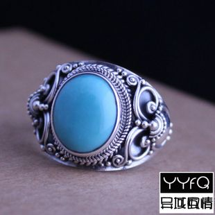 Nepal 925 Sterling Silver Jewelry Hand-carved Inlaid Turquoise Leading