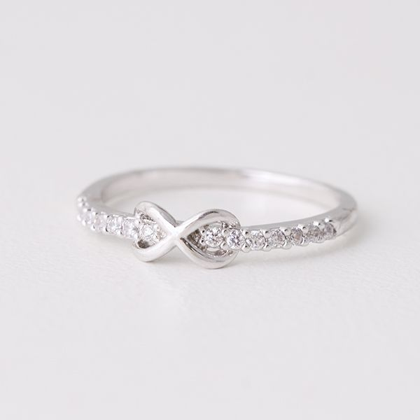 CZ Embraced Infinity Ring White Gold from Kellinsilver.com