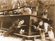 Arbuckle's nephew Al St. John (right) with Buster Keaton and Arbuckle in Out West (1918)