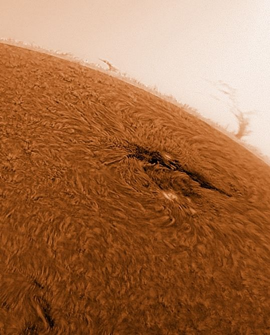 The wonderful astrophotographer César Cantú takes amazing pictures of the sky, and his shots of the Sun are truly cool.  On Wednesday, August 8, 2012, he took this image of the Sun and a sunspot called Active Region 1524