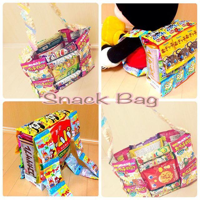 お菓子バッグ作ってみた♡ リュックとトートバッグの2種類☻ リュックにお菓子20個 トートにお菓子29個 もらった人ゎ当分おやつ困らんよね( ᐛww  #お菓子バッグ#誰に渡るかゎお楽しみ