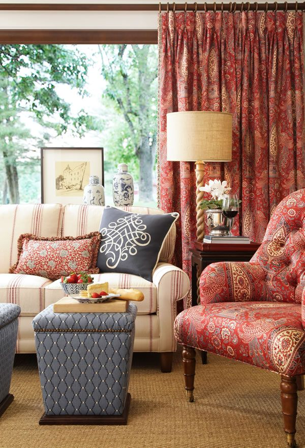 Traditional decor make abundant use of fabrics in patterns such as floral, plaids, stripes, and toile.