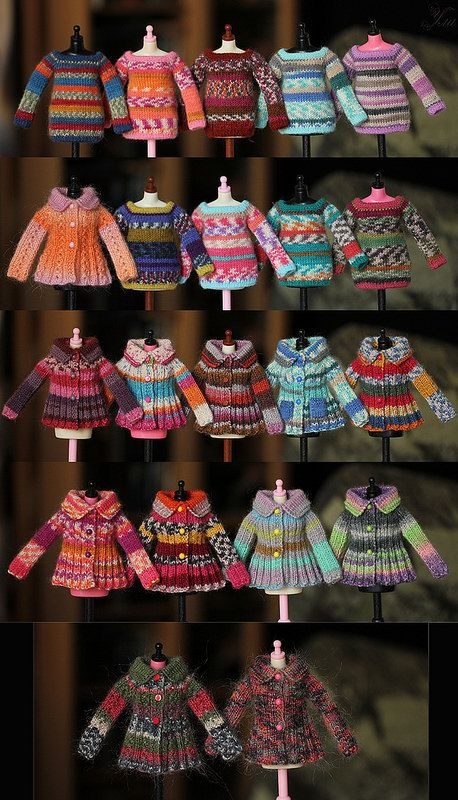 Flickr photo - these are amazing! I need to find a pattern for doll sweaters. I love these!