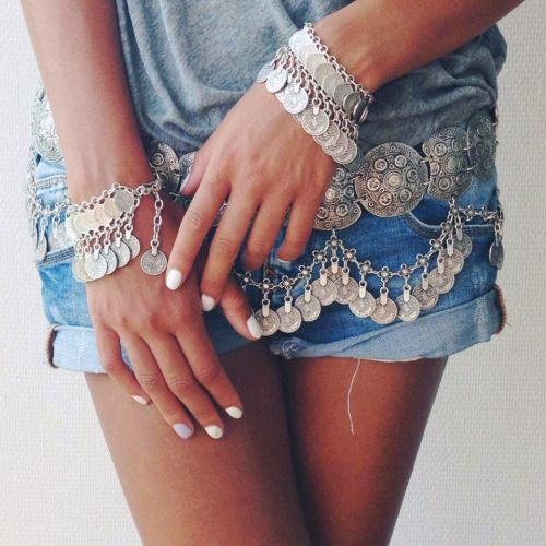 Gypsy belt chain and great boho bracelets.