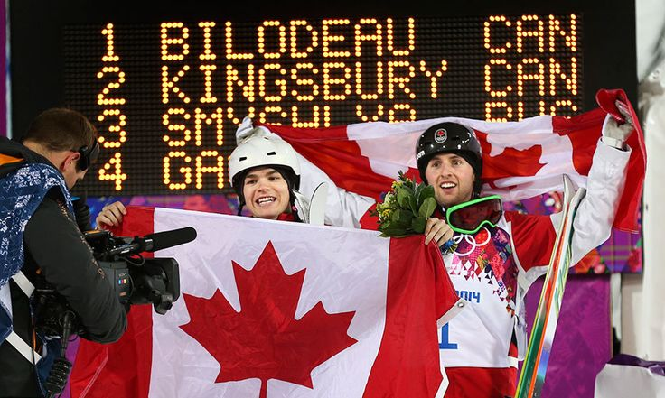 Canadians Bilodeau (Gold) and Kingsbury (Silver) Men's Moguls @ The Sochi 2014 Winter Olympics