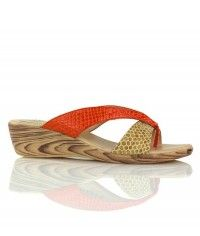 Tequila Sunrise - Gloss tan orange wood-grain wedge thongs $49.00 #shoeenvy #shoes #fashion #instalove #pretty #ethical #glamorous