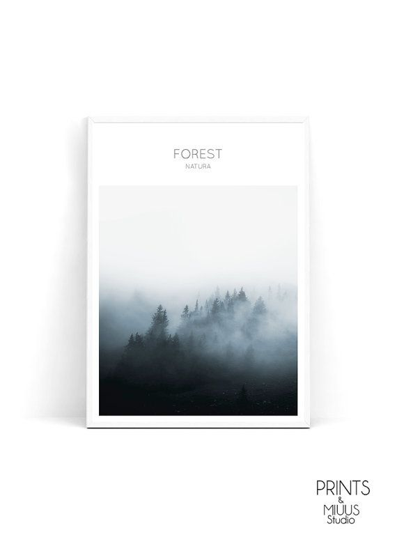 Forest fog print fog and forest mist forest by PrintsMiuusStudio