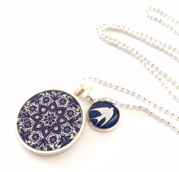 White Swallow on Navy Blue Double Pendant by MyBlossomCouture, $22.00