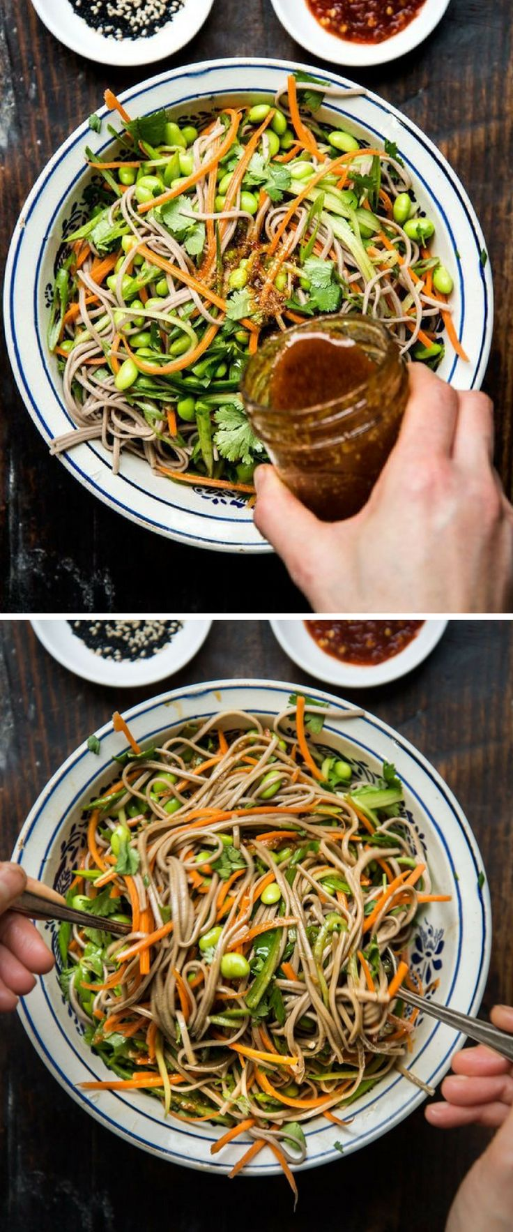 Skip the takeout! Make your own cold noodle salad with veggies, cilantro, sesame seeds and a spicy homemade dressing. Perfect for packed lunches!
