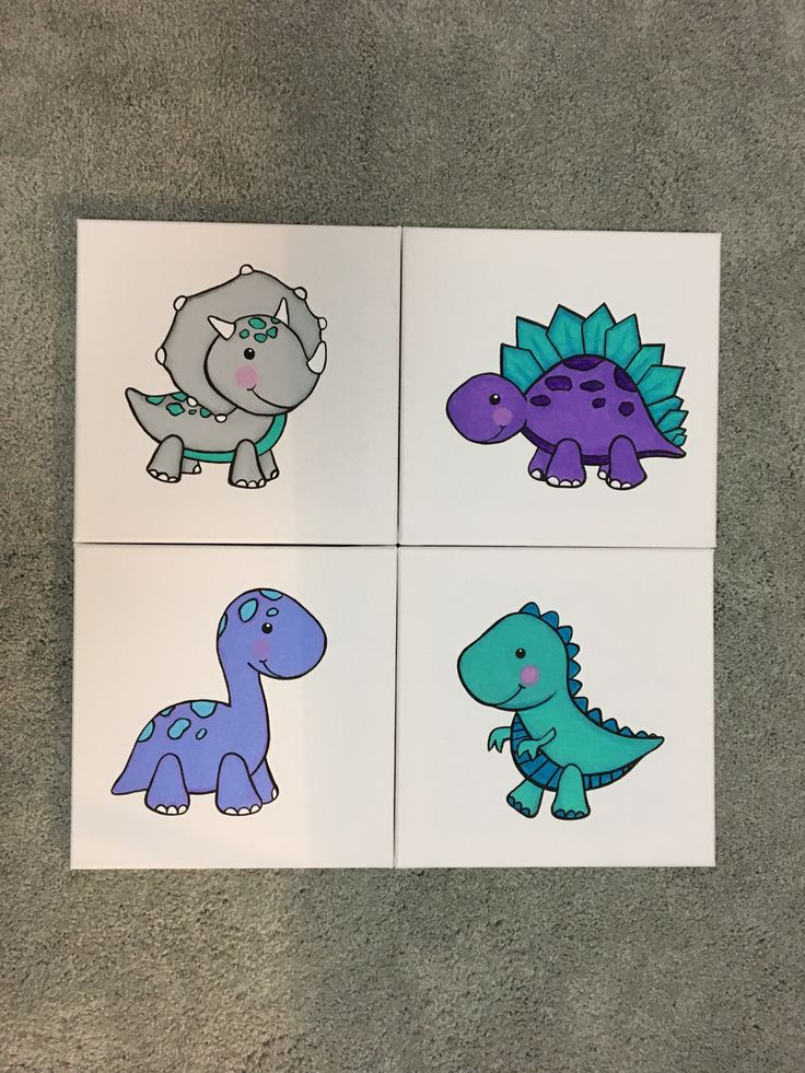 DIY Baby Dinosaur Nursery Acrylic Paintings  To see these 4 paintings in the making, click on the following links below...  Triceratop: https://www.youtube.com/watch?v=4S3GbYtuTac  Brontosaurus: https://www.youtube.com/watch?v=cusLXpzC510  T-rex: https://youtu.be/wNo7fxwYBY0  Stegosaurus: https://www.youtube.com/watch?v=um12YJD1lXI
